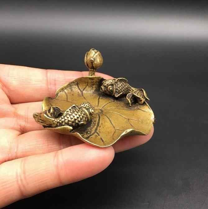 Coleccionáveis cobre Estátua de Bronze Chinesa Esculpida Animal Goldfish Peixe Folha de Lótus Flor de Lótus Requintado Pequena Estátua Frete Grátis