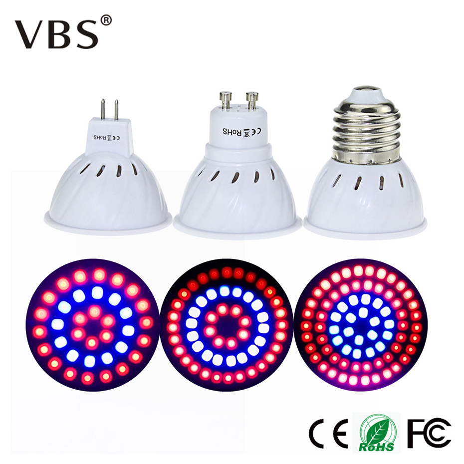 Full Spectrum LED Grow Light Lampada E27 MR16 GU10 Indoor Plant Lamp 36 54 72Leds Bulb Flowering Hydroponics System Garden