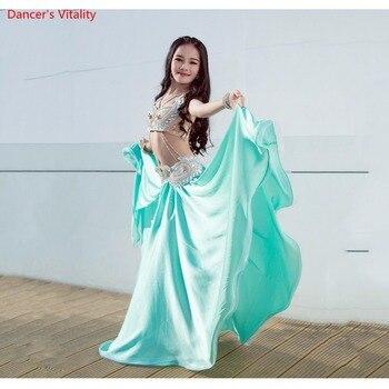 Children's Belly Dance Show Costume 2018 High-grade Silk Oriental Dance Dress Bra+Skirt+Belt 3PCS Set