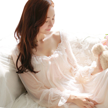Womens macio elegante camisola longa fêmea doce princesa dormir casa vestido senhora rendas sexy branco rosa nightdress