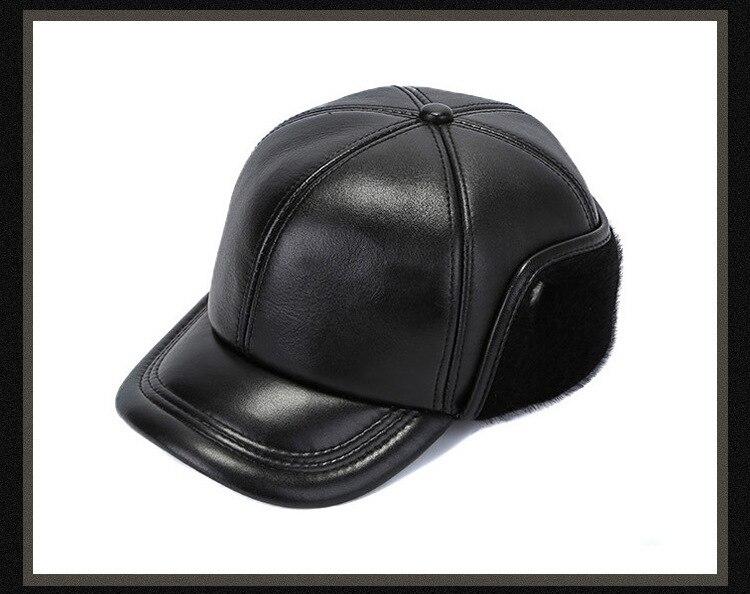 Leather hat sheep skin cap (15)
