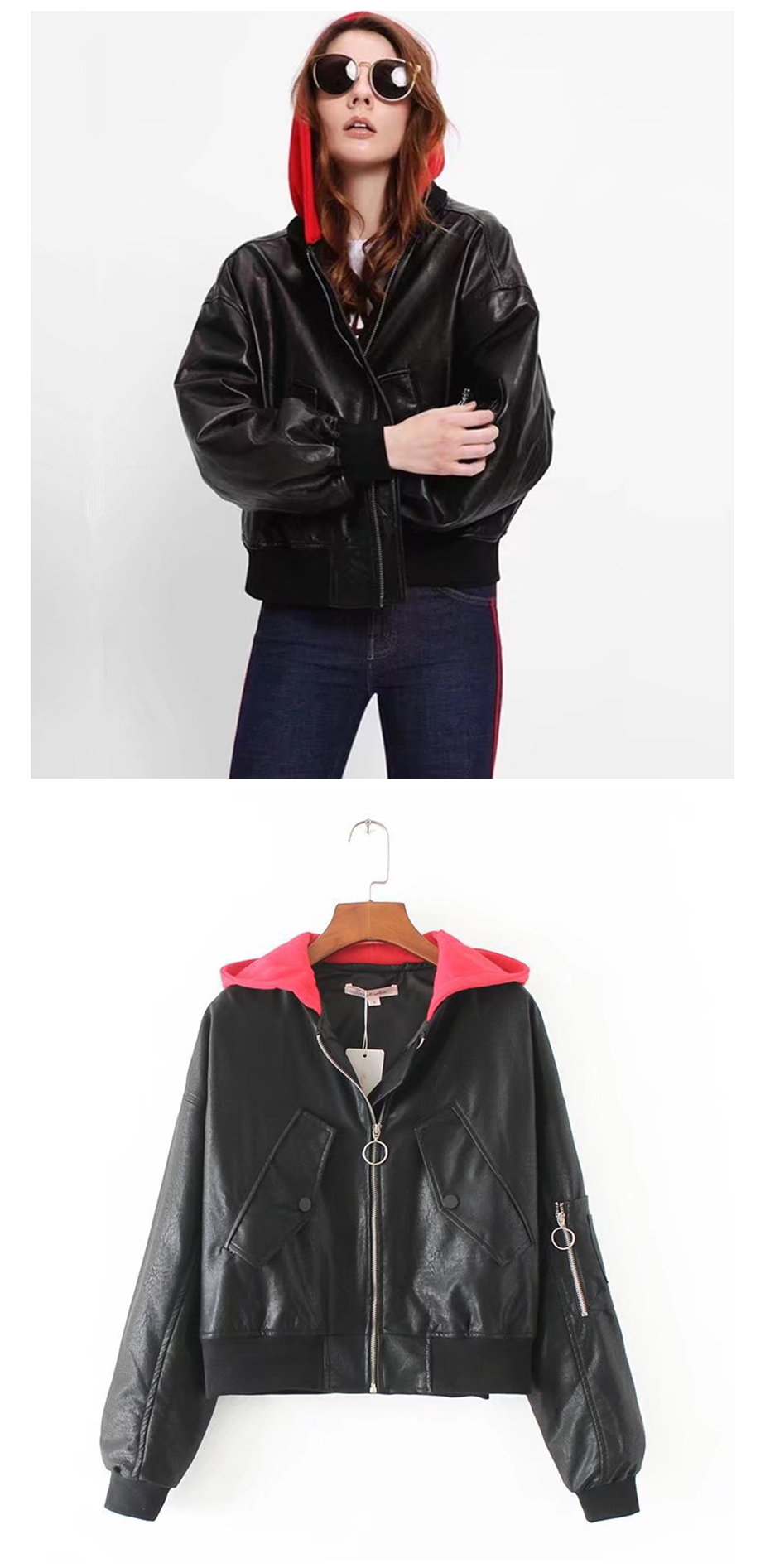 Gaovot hoodie pilot faux black women leather jacket ladies moto coat woman gothic biker jacket womens winter jackets (2)