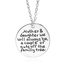 Mother Daughter Couple Necklace Silver Round Personalised Pendants Statement Necklaces Colar Feminino Family Jewelry