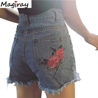 New Fashion Embroidery Rose Women S Shorts 2016 Summer High Waist Short Jeans Slim Ripped Blue