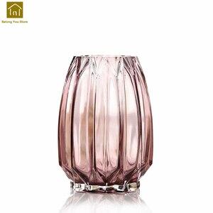 Геометрическая стеклянная ваза стол прозрачное украшение для ваз дома Vaas Jarron Wazony Ozdobne стеклянная Современная ваза цветочный горшок QAB064