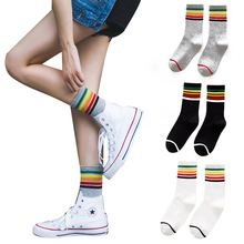 fashion socks for women ladies cool Skateborad rainbow striped cotton socks black white Calcetines mujer Ankle Socks hosiery