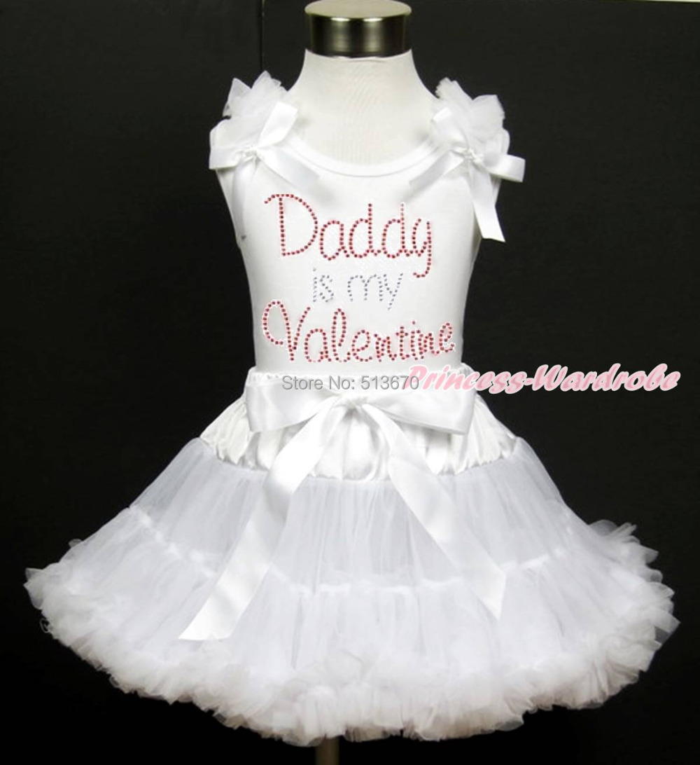 Rhinestone Daddy Is My Valentine Girl White Top White Pettiskirt Set 1-8Year MAPSA0177 valentine daddy main squeeze white top pink floral girl skirt outfit set 1 8year