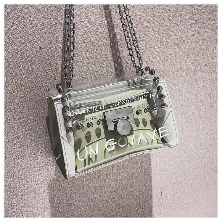 18 Summer Fashion New Handbag High quality PVC Transparent Women bag Sweet Printed Letter Square Phone bag Chain Shoulder bag 18