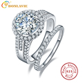 Round Cut 925 Sterling Silver Womens Wedding Anniversary Engagement Ring Sets in White Cubic Zirconia Vintage Rings Style