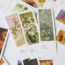 JIANWU 20pcs Van Gogh's Monet paper creative bookmark bookmark a small school gift card