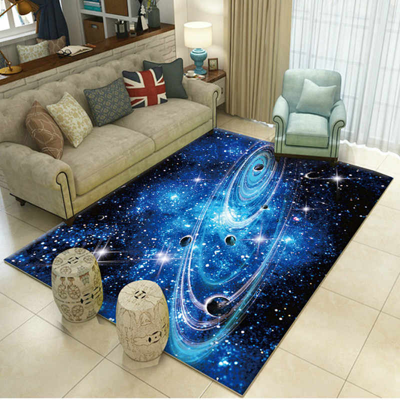 3D Printed Planet Galaxy Space Carpets for Living Room Bedroom Area Rugs Sofa Kitchen Anti-slip Floor Mat Fashion Home Decor Rug