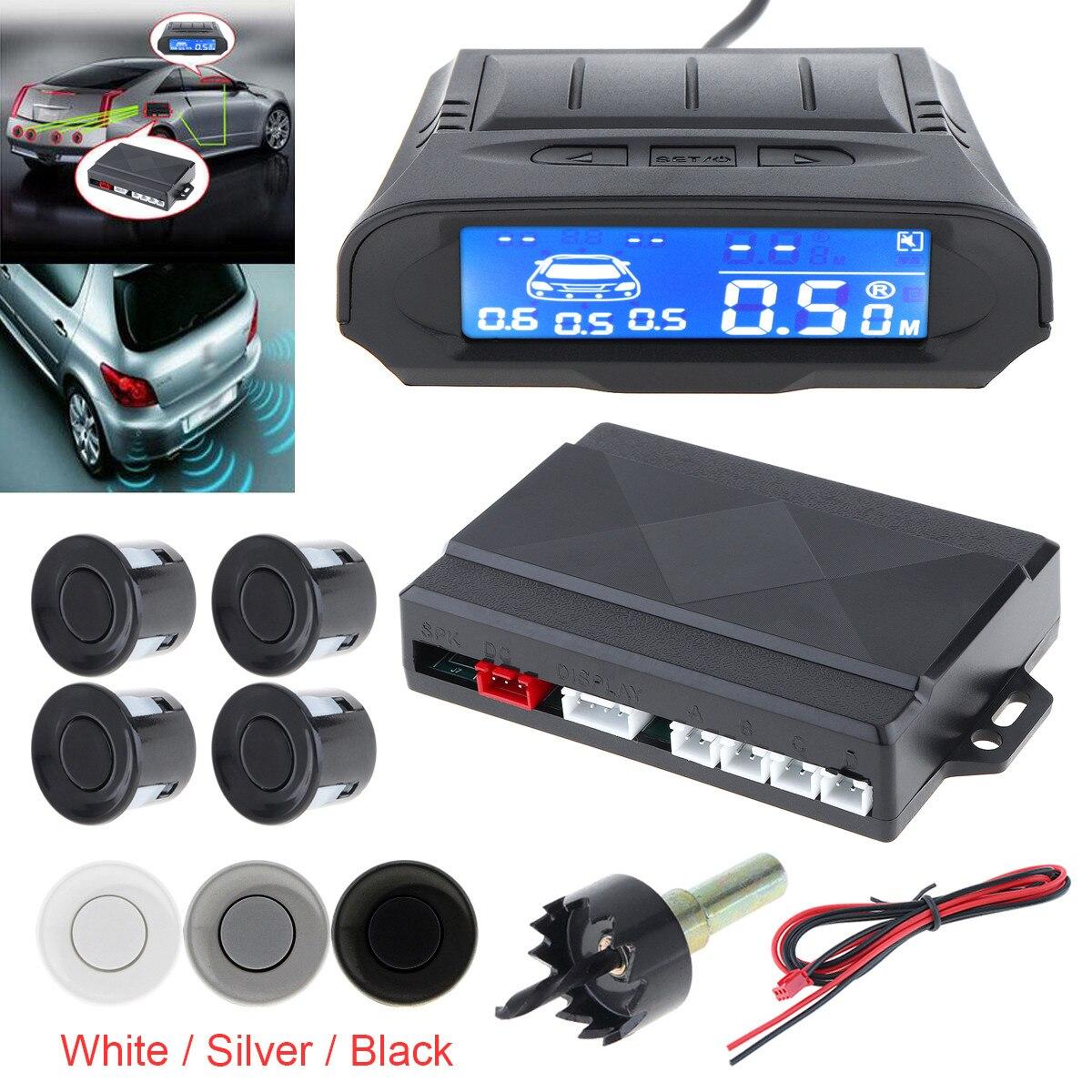 Moniteur de voiture universel à Distance numérique capteur de stationnement Auto 4 capteurs indicateur d'alarme système de détecteur de Radar de sauvegarde inverse