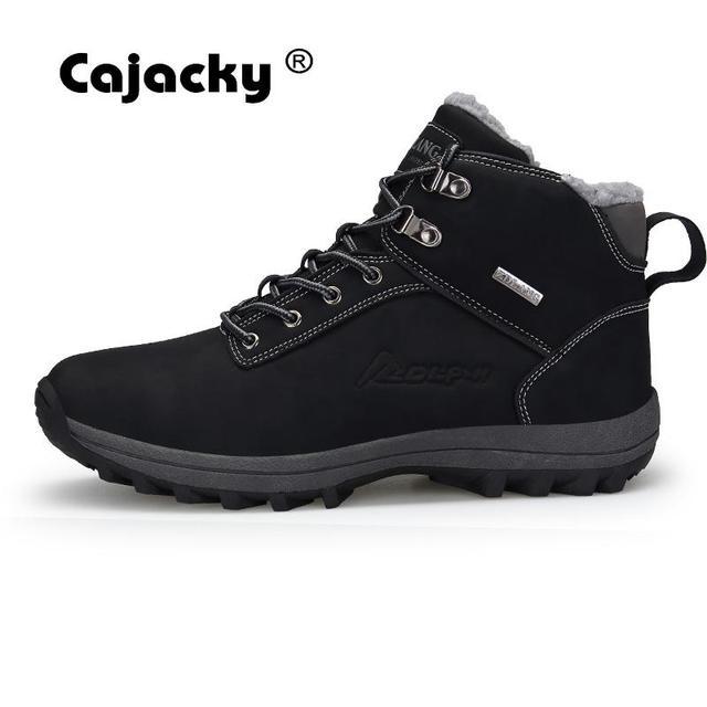Cajacky High Quality Snow Boots Men Plus Size 47 46 Winter Autumn Ankle Boots Warm Plush Botas Hombre Winter Shoes Waterproof