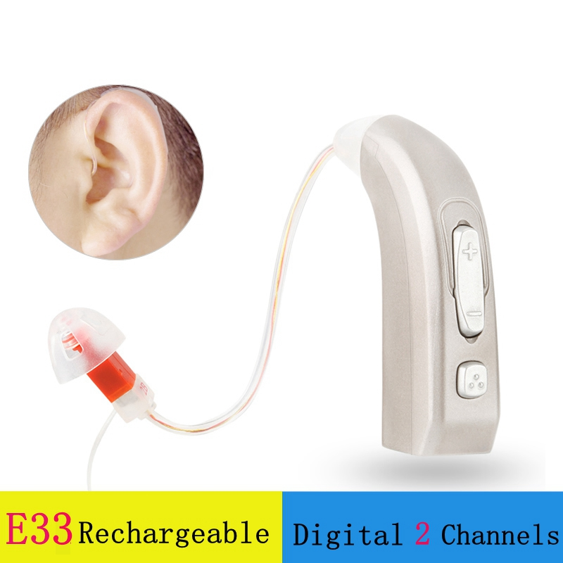 JE33 Newest Rechargeable Hearing Aid Auidphones Microphone Amplifier To Profound Deaf Hearing Aids Left Right ear