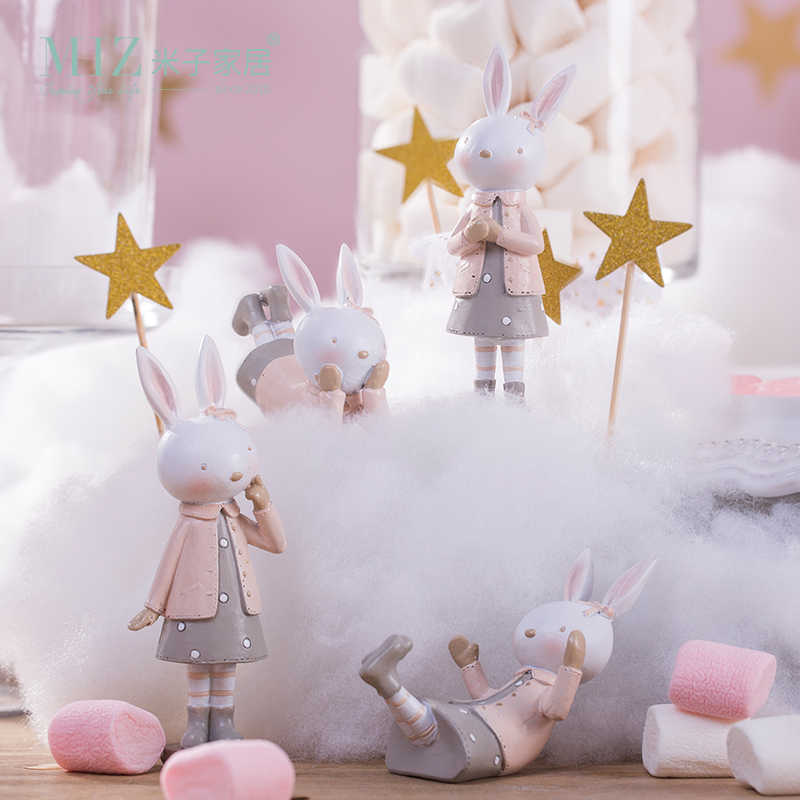 Miz 1 Piece Pink Rabbit Home Decoration Accessories Status for Decoration Small Figures Gift for Girl Child Room Accessories