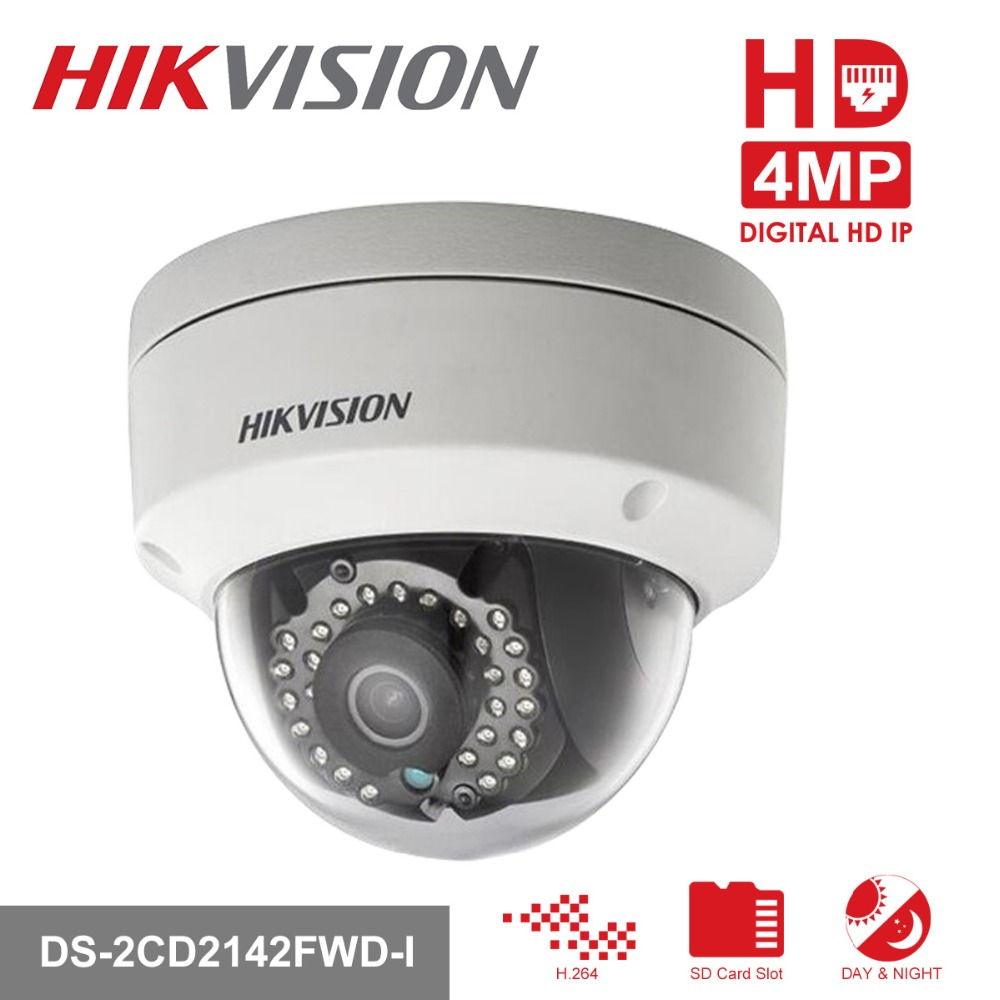 Hikvision HD Security Camera 1080P Indoor/Outdoor 4.0MP Dome IP Camera Support Onvif POE DS-2CD2142FWD-I Built-in SD Card Slot цена