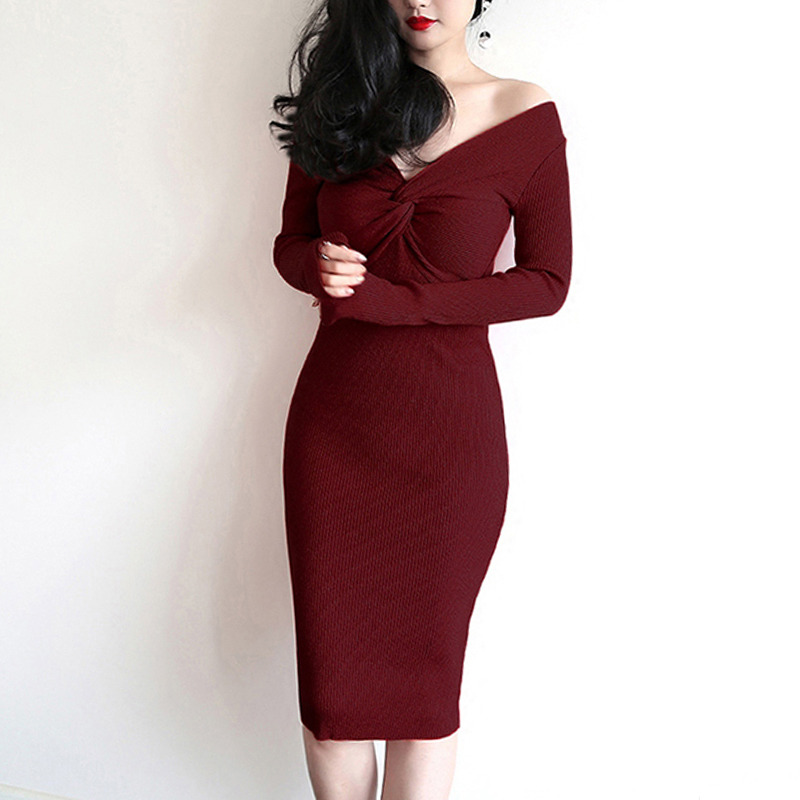 Fashion Long Sleeved Package Hip Knitted Sweater Dress Women Sexy High Waist V Neck Dresses Winter Bottoming Sexy Female Dress