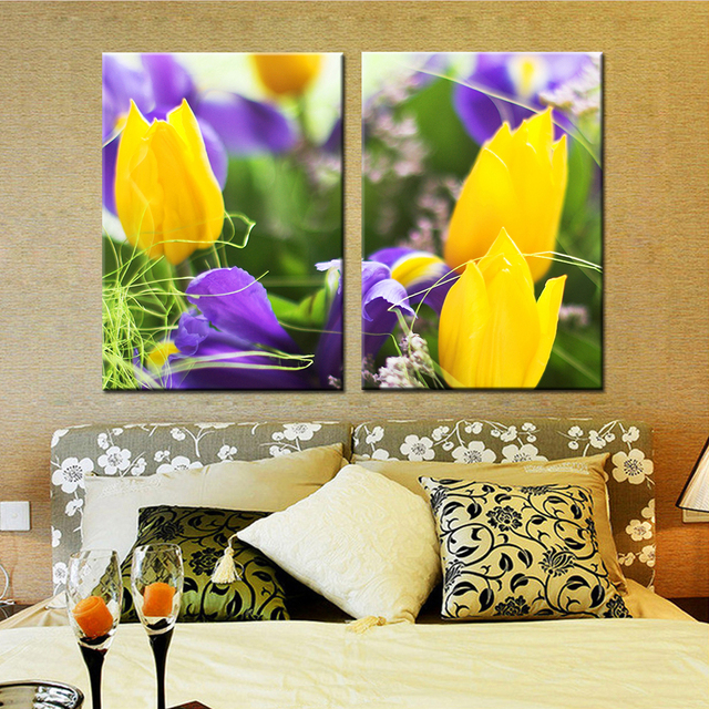 2 Panel Modern Printed Yellow Flower Oil Painting Picture Cuadros ...