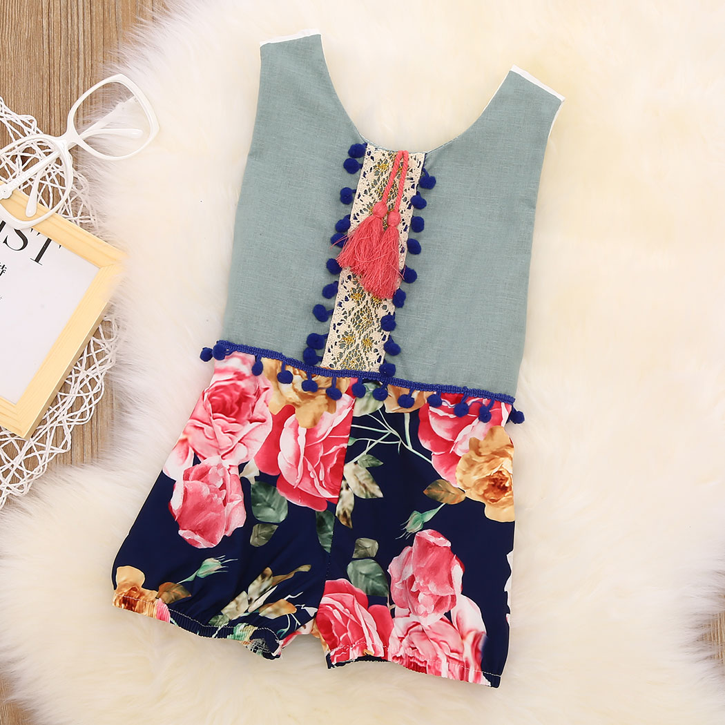 2018 Fashion Girls Romper Cartoon Floral Costume Baby Clothes Newborn Baby Overall Summer Baby Infant Rompers Jumpsuit Clearance