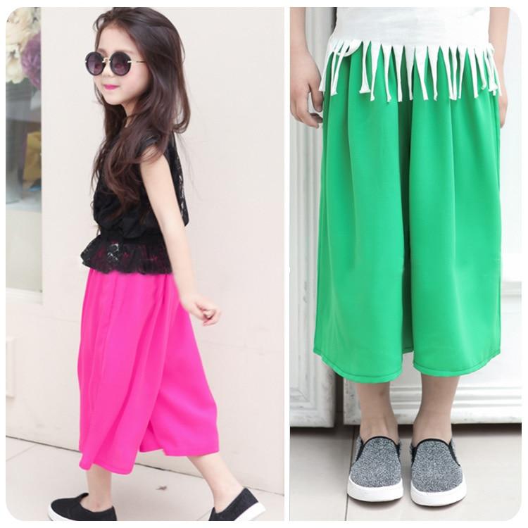 New Pattern Garment Trousers 2016 Summer Korean Girl Baby Solid Color Cool Wide Leg Pants Girl Bigfoot Pantskirt Pants