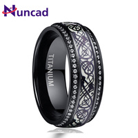 NUNCAD Men Black Dragon Style Luminous 316L Titanium Steel Ring Two sides Cubic Zirconia stainless Steel Personalized Party Ring