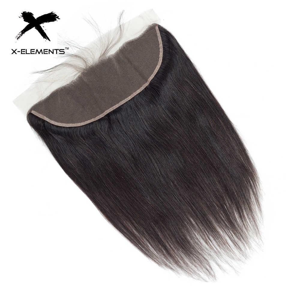 X-Elements бразильские Прямые фронтальные натуральные волосы 100% 13x4 кружева фронтальные с ребенком волос не Реми Натуральный Цвет Волос