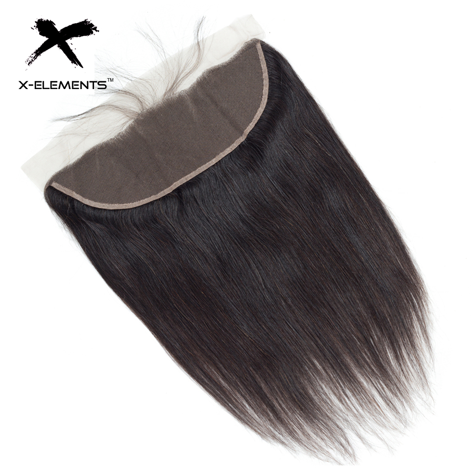 X-Elements Hair Straight 13 * 4 Spets Frontal With Baby Hair - Mänskligt hår (svart)