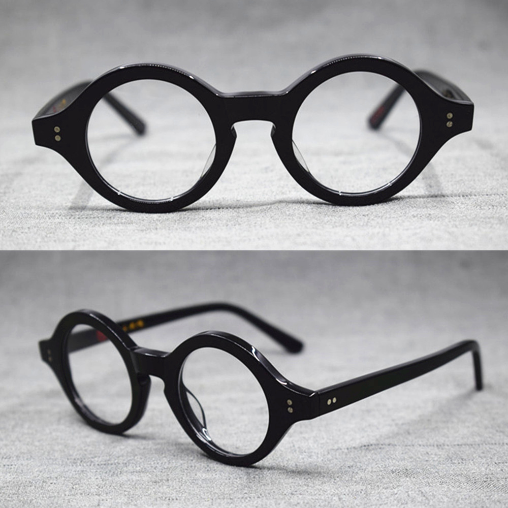 9e0c16adf76a Vintage Hand Made Small 38mm Round Full Rim Eyeglass Frames Acetate unisex  Optical Myopia Rx able