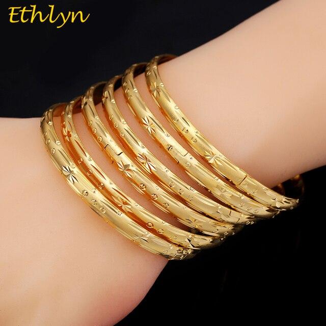 Ethlyn 6pcs/lot Dubai Party Gold Color Bangle & bracelets Women Decoration Bangl
