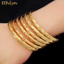 Ethlyn 6pcs/lot Dubai Party Gold Color Bangle & bracelets  Women Decoration Bangle African Ethiopian Jewelry Wholesale B033