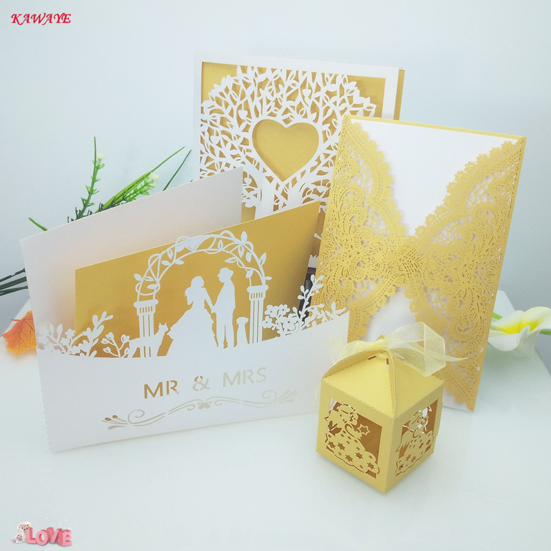 50pcs Vertical Laser Cut Butterfly Invitations Cards Kits for Wedding Bridal Shower Birthday (White) Wedding Decoration 7ZH26