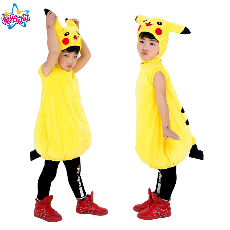 Free shipping Pikachu Christmas Children Cosplay Costume Cos Performance Cartoon Cute Stage Performance Party Dress up Pikachu