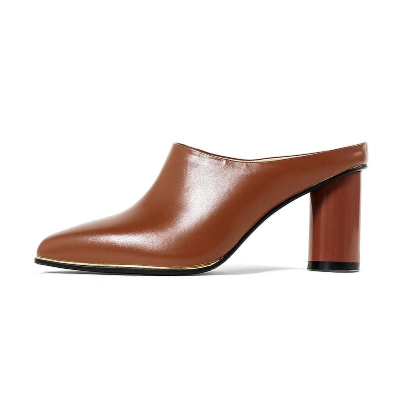 RIBETRINI 2018 musim panas merek kulit sapi wanita kulit mules insole - Sepatu Wanita - Foto 2
