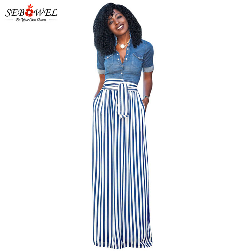 ef4ae354731 SEBOWEL 2018 Light Blue Striped Maxi Skirt Women Casual High Waist Long  Skirt Plus size Ladies Vintage Retro Striped Skirts S XL-in Skirts from  Women s ...