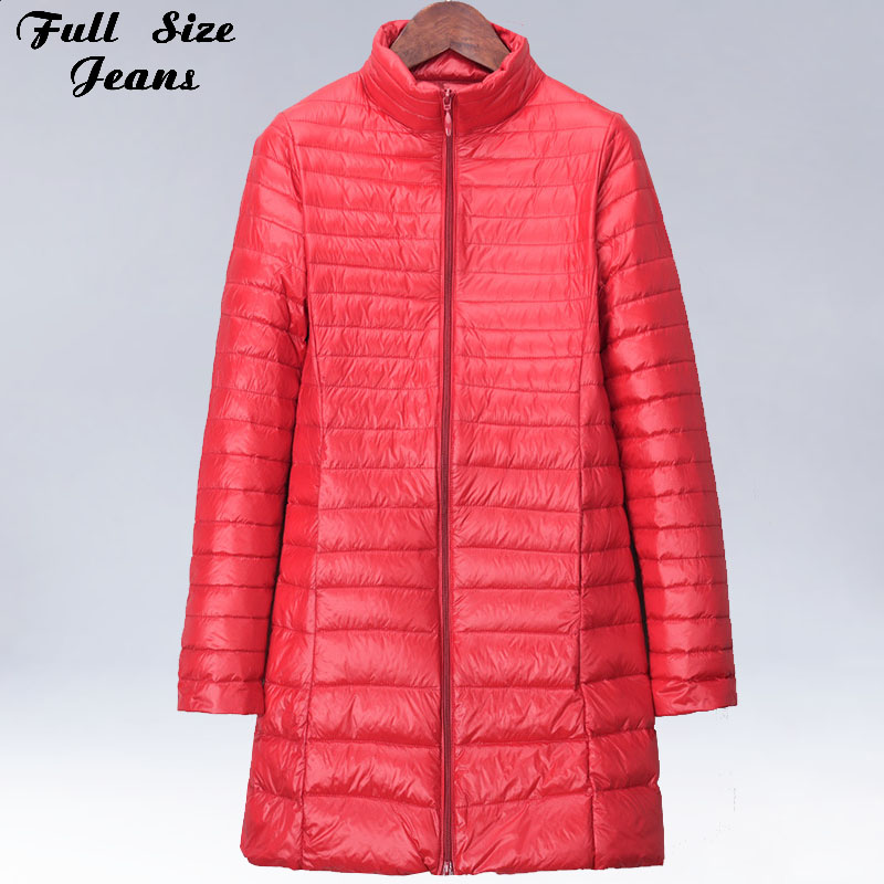 Winter Plus Size 5XL 6XL 7XL Womens Hoody Duck   Down   Jackets Mid Long Ultra Light   Down     Coat   Hooded Puffer Jacket Autumn Parkas