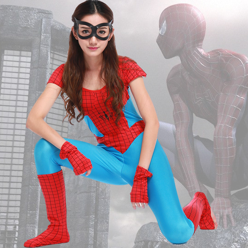 Adult  Super Hero Spiderman Jumpsuit Costume Cosplay For Woman Halloween Masquerade Fancy Dresses Party Size S-XXL