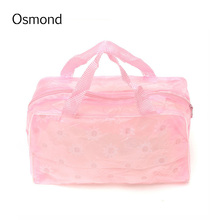 1pcs Floral Print Portable Women Makeup Bags Transparent Waterproof Cosmetic Bag Case Toiletry Bathing Pouch Wash Bag