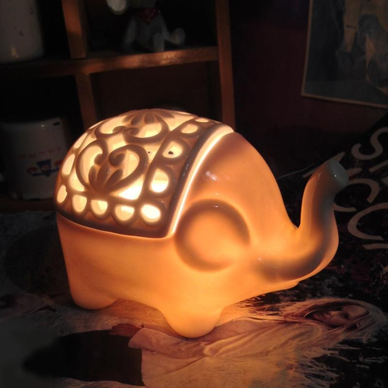 LumiParty Creative Elephant-Shape Crystal Salt Bed Lamp Cute Night Light for Kids Bedroom Home Decoration Christmas Gift creative home decoration ferris wheel shape led night light