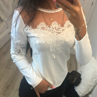 Sexy 2018 New Mesh T Shirts Womens Long Sleeved Lace T Shirt Top Spring Slim Bodycon