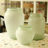 2015 NEW High Quality Modern Retro Style Light Green Transparent Matte Vase Home Furnishing Ornaments Decorative