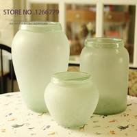 2015 NEW High Quality Modern Retro Style Light Green Transparent Matte Vase Home Furnishing Ornaments Decorative