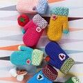 2017 Enfants Hiver Gants Guantes De Invierno Para Niños Patchwork Unisex Knit Mittens Luvas Lanzador de inverno Cálido Mitaines C1721