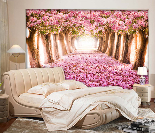 Online Shop custom wall mural 3D Romantic Sakura mural TV sofa ...
