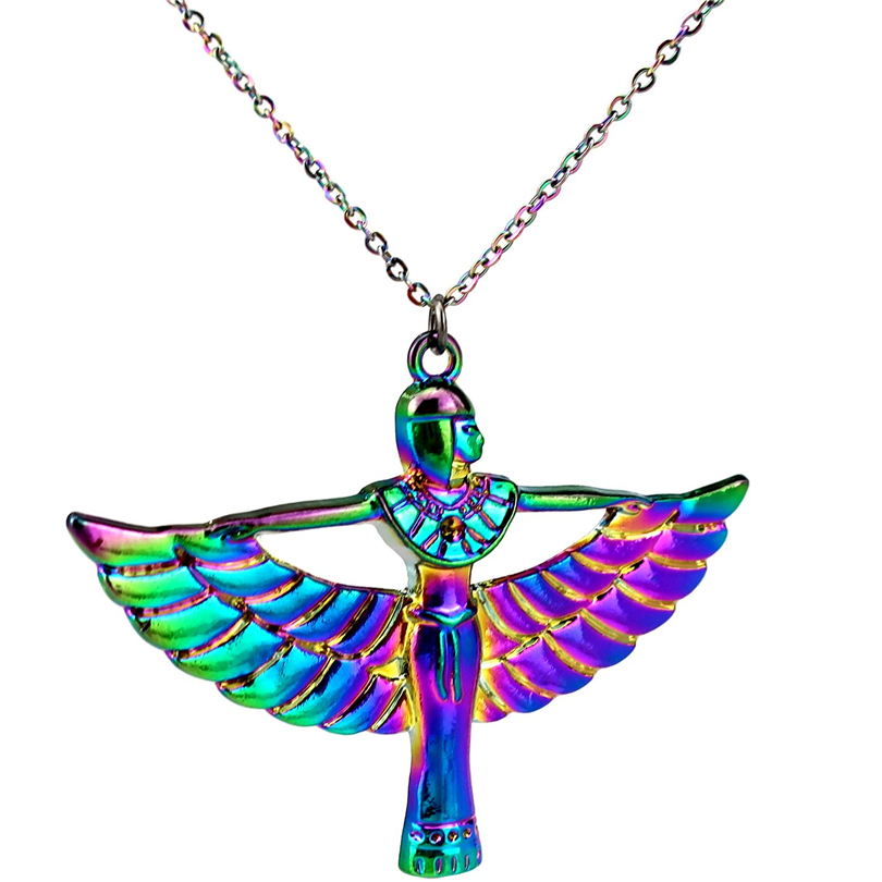 Rainbow Color Pharaonic Egyptian Goddess <font><b>Isis</b></font> Ancient Egypt God <font><b>Winged</b></font> Necklace Beauty Gift image