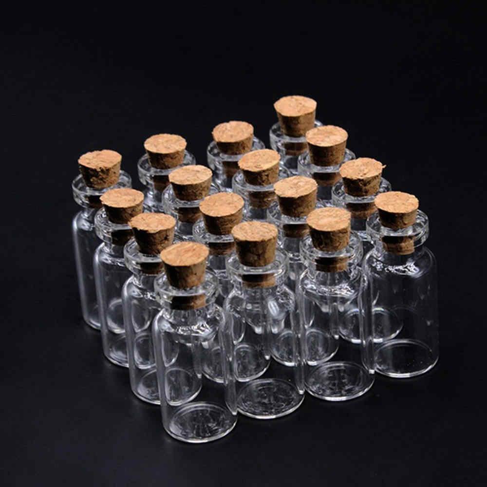 50pcs 5ml มินิแก้วต้องการขวดขนาดเล็กที่ชัดเจนจุกขวดขวดสำหรับงานแต่งงานวันหยุดตกแต่ง Cork Stopper เครื่องประดับ