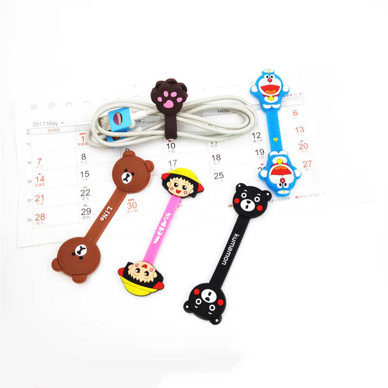 1 pcs Animated cartoon Press buckle bobbin winder phone charger ear mechanism storage line multifunction receive kawaii bag clip