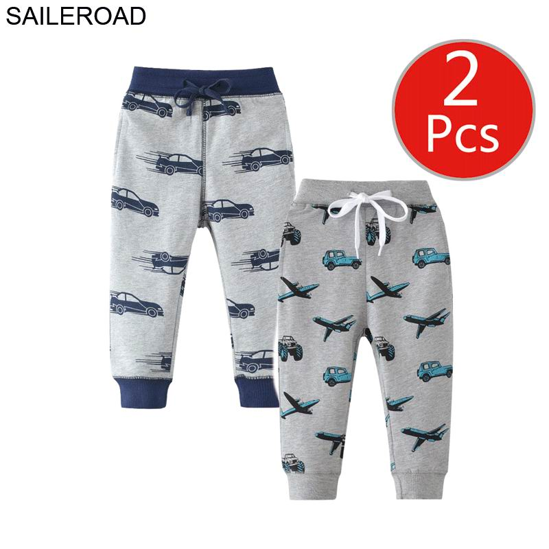 Image 4 - SAILEROAD 2pcs Kids Trousers Pants with Car Print 2019 Boys Sweatpants Full Length Spring Children Sweatpants for Boys Clothes-in Pants from Mother & Kids