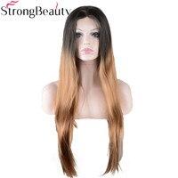 StrongBeauty Long Soyeux Droite Fraise Blonde Perruque Synthétique Ombre Noir à Or Brun Avant de Lacet Perruque pour les Femmes Noires