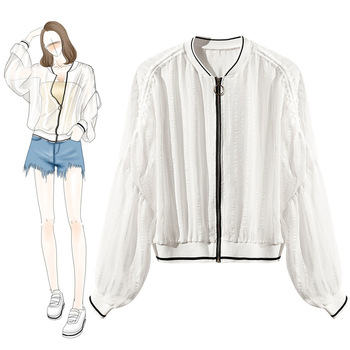 High quality 2019 spring summer street style loose bomber jacket women black/white design see through zipper cropped jacket coat