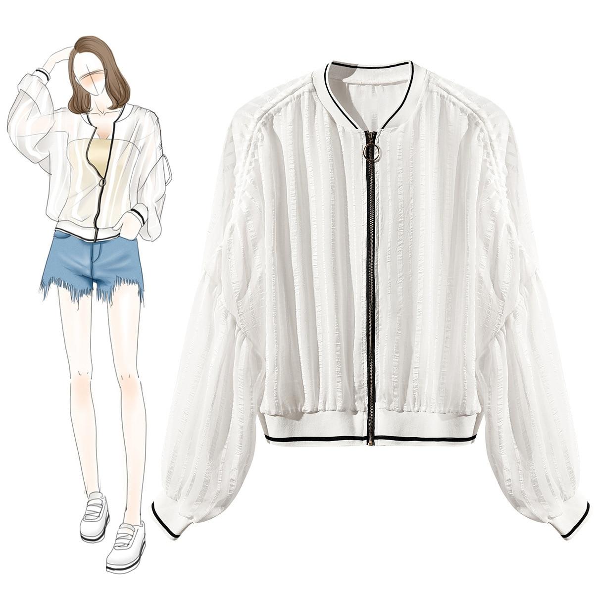 Noir Style Femmes blanc Été À Street Zipper Veste Qualité blanc Manteau Travers Lâche Noir Recadrée Voir Supérieure Printemps Blouson 2019 Design RqtFx8zX